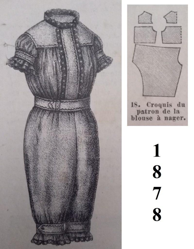 wykrój stroju kąpielowego 1878 rok