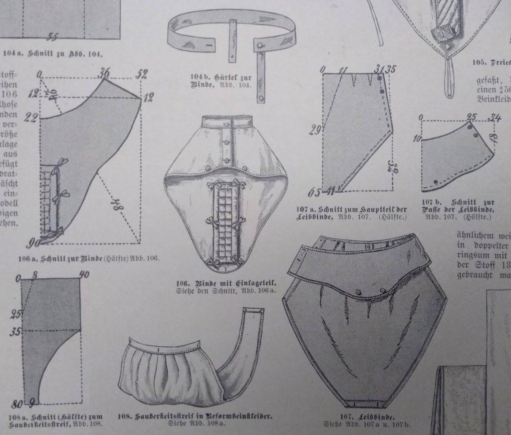 wykroje podpasek 1890s
