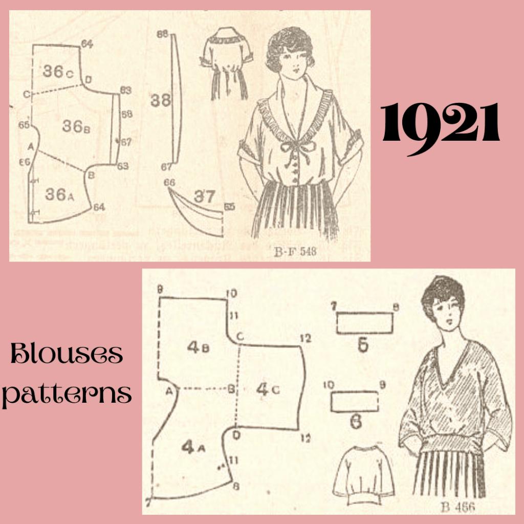 1921 schematy kroju bluzek kimonowych