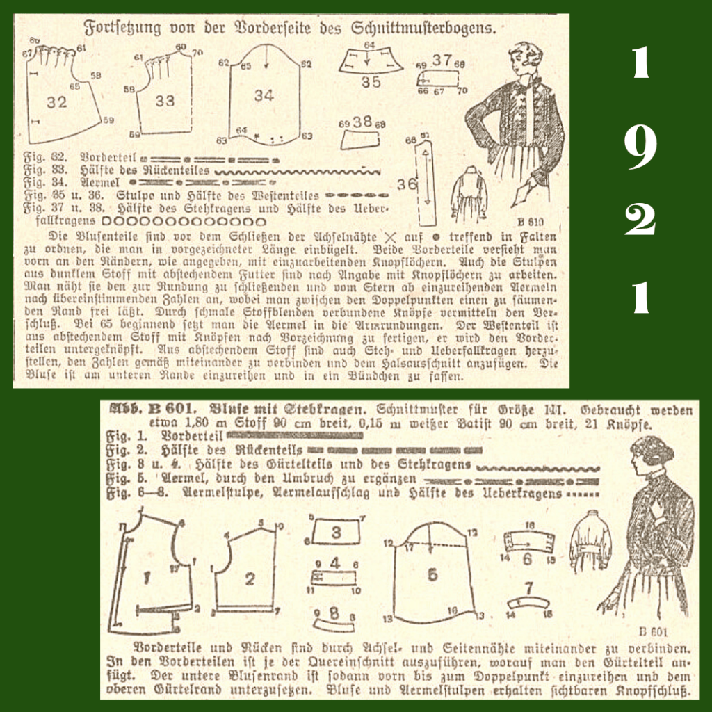 1921 wykroje bluzek