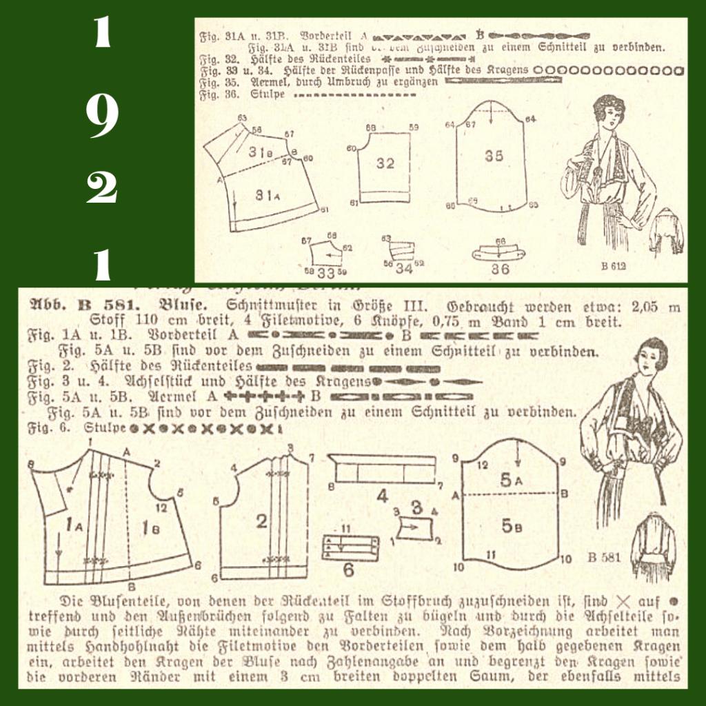 1921 bluzki koszulowe damskie z wykrojami