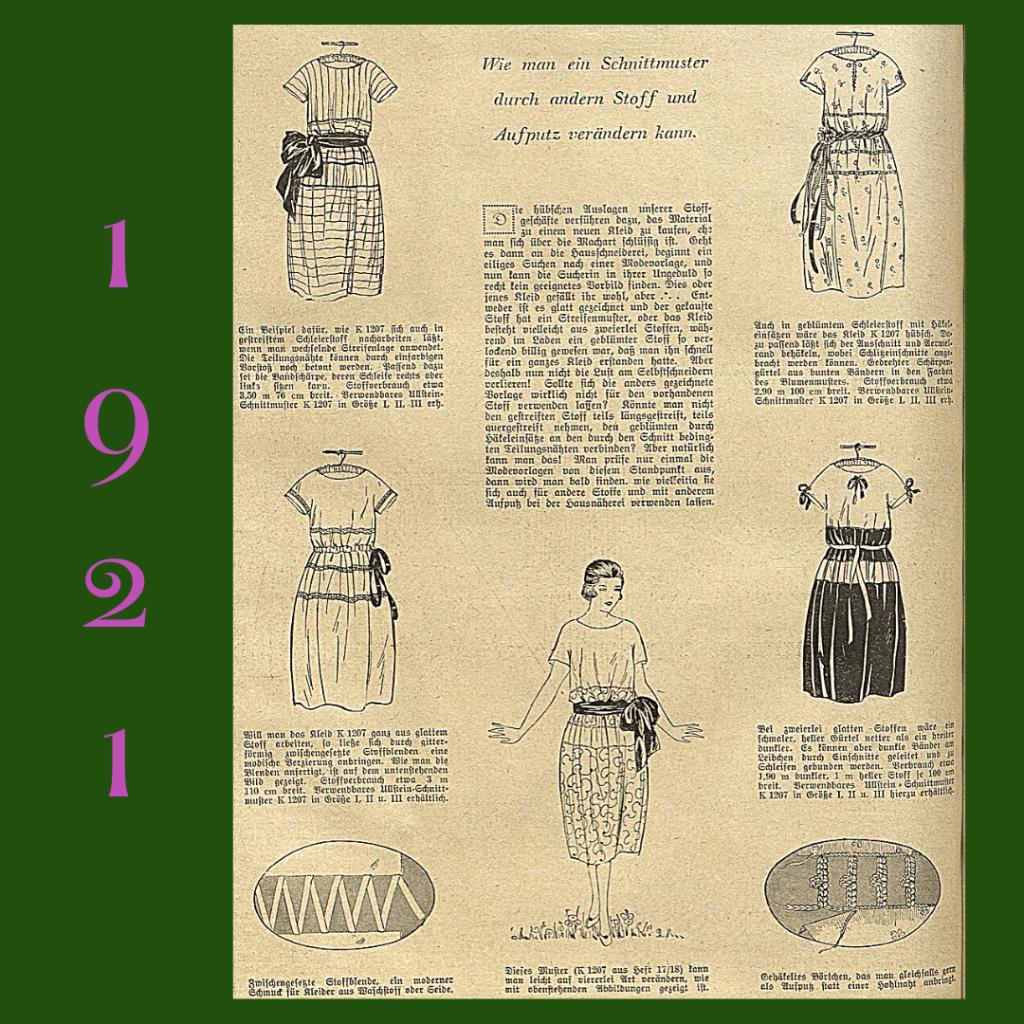 1921 kilka sukienek z jednego wykroju