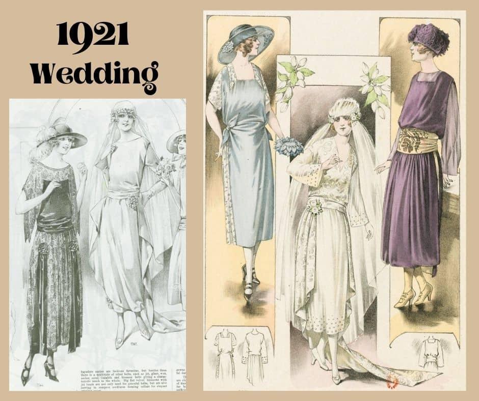 2x suknia ślubna 1921 rok