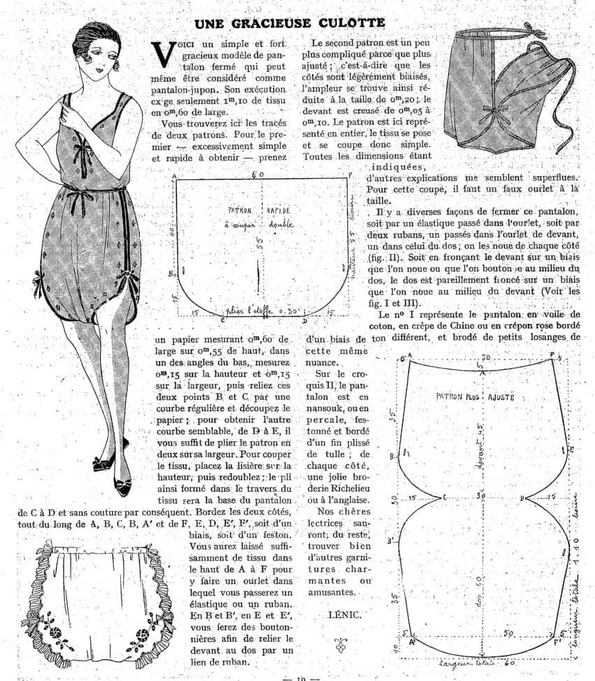 majtki damskie 1921 rok