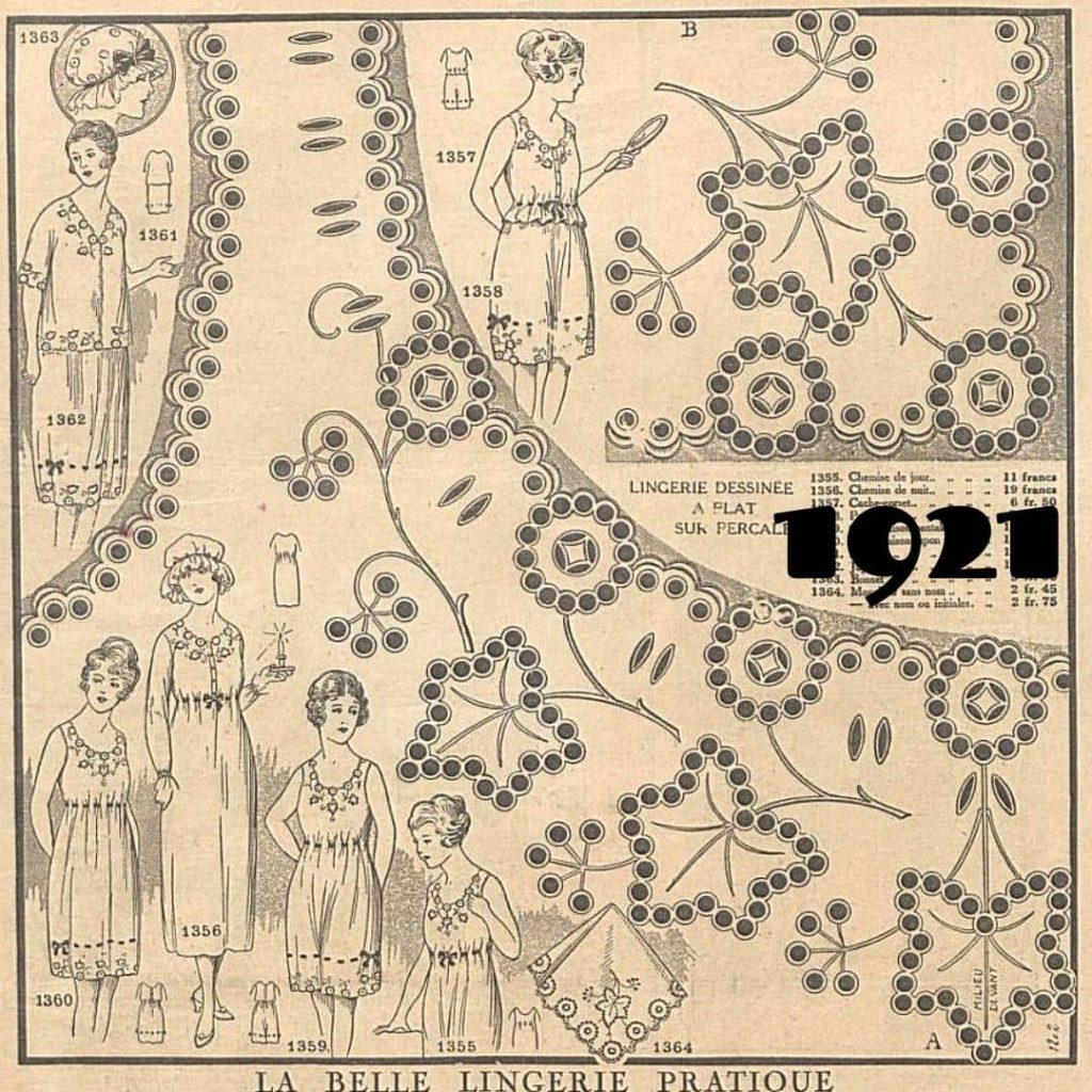 1921 hafty na bieliznę