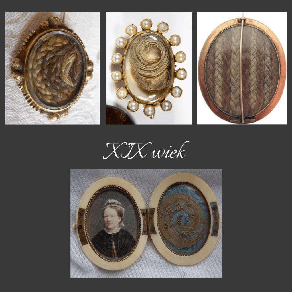 proste wiktoriańskie medaliony i wisiory z włosami