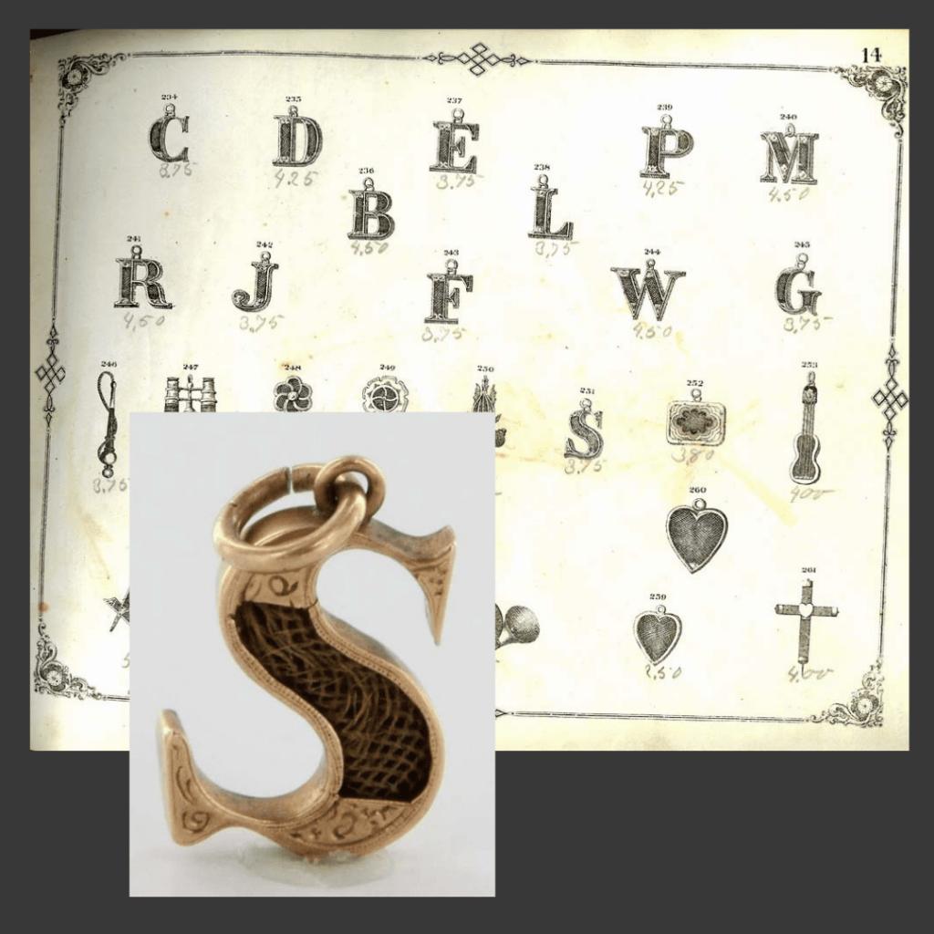 Wisiorek monogram litera S z włosami