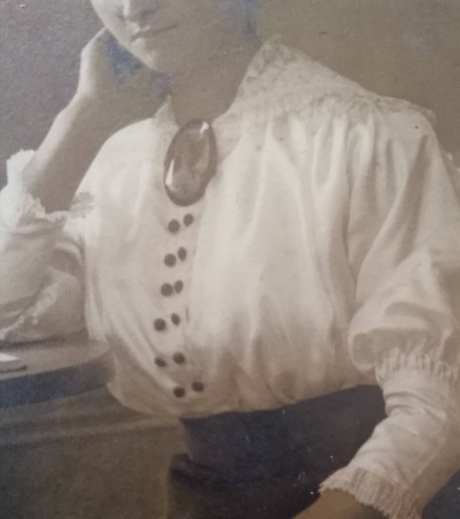 zbliżenie na bluzkę i broszkę