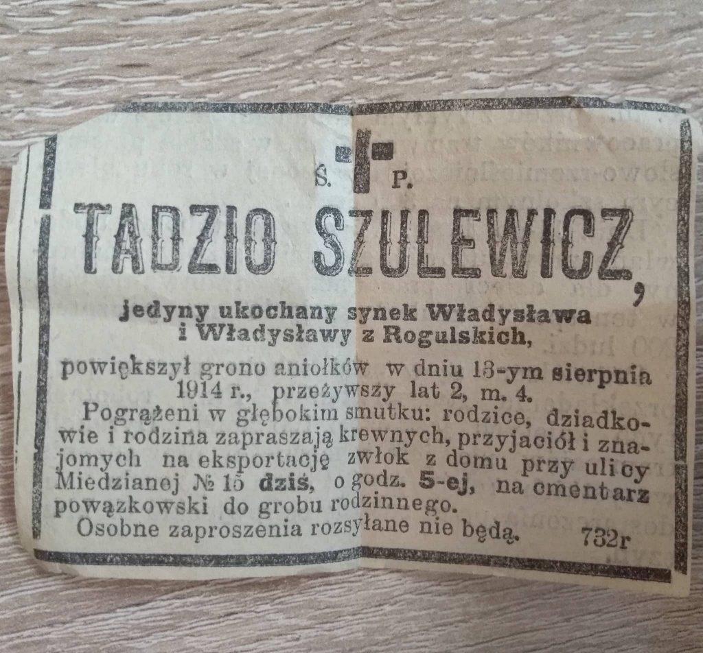 nekrolog Tadzio Szulewicz