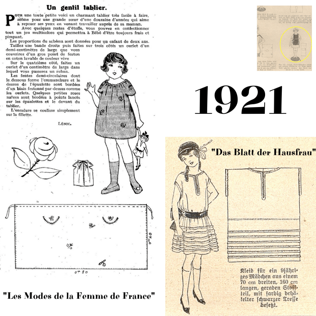 1921 rok sukienki dla dziewczynek z wykrojami