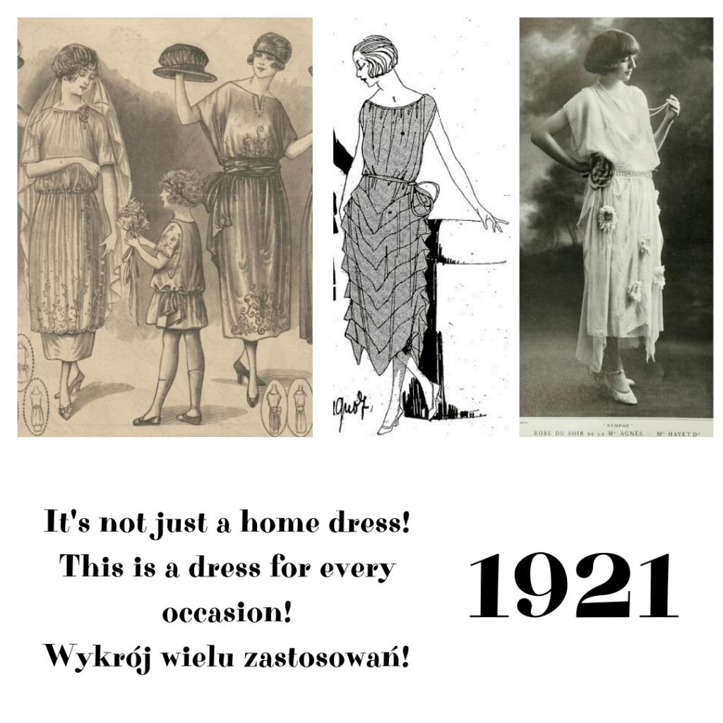 proste suknie wieczorowe 1921 rok