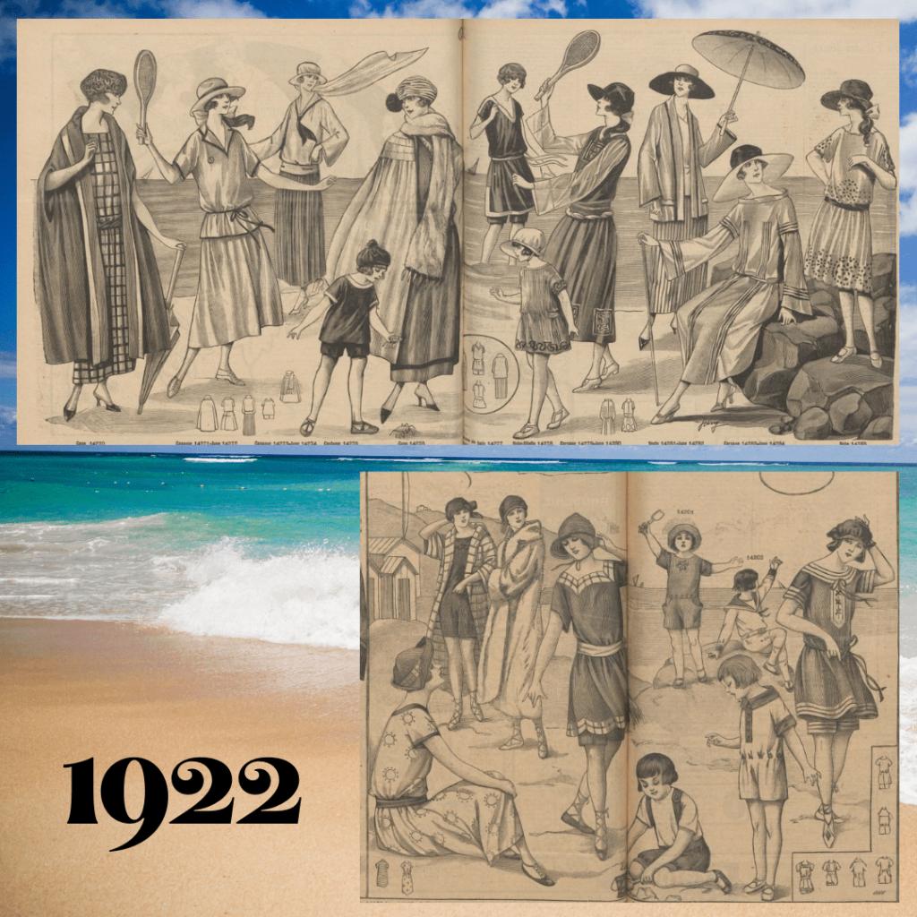 moda plażowa w 1922 roku