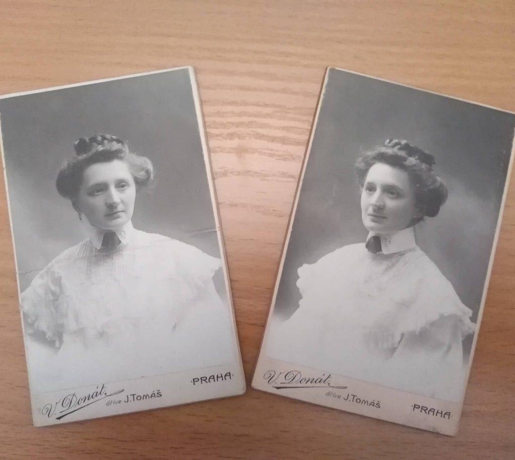 Dwa portrety zdjęciowe damy z Pragi czeskiej.