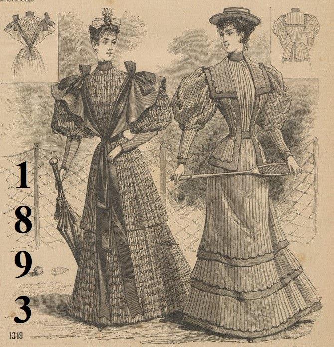 Ilustracja z ubiorami damskimi z 1893 roku
