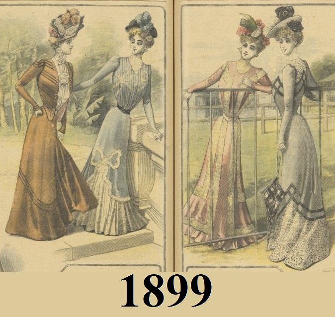 Kolorowe suknie z 1899 roku