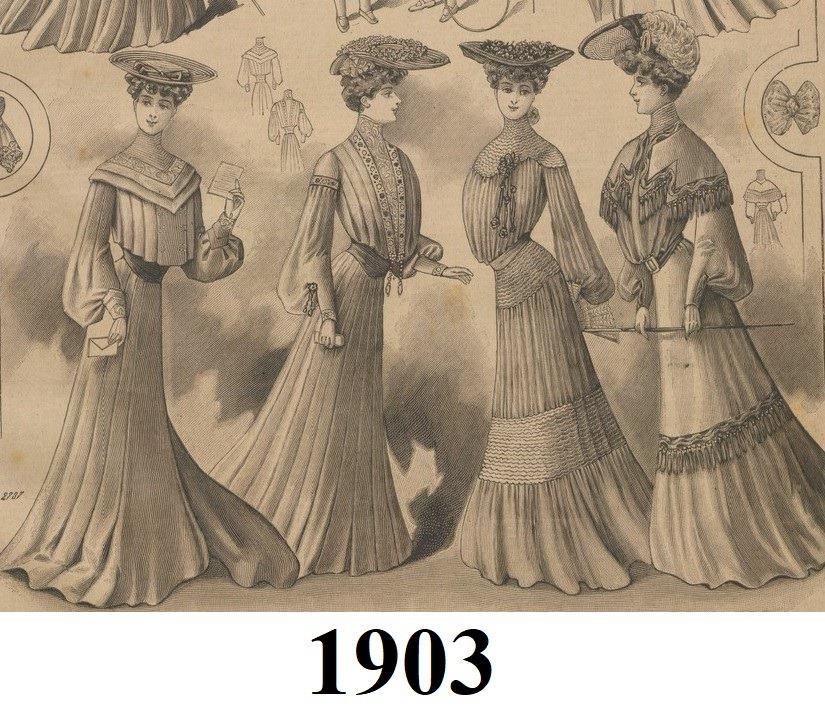 damy w sukniach z 1903 roku