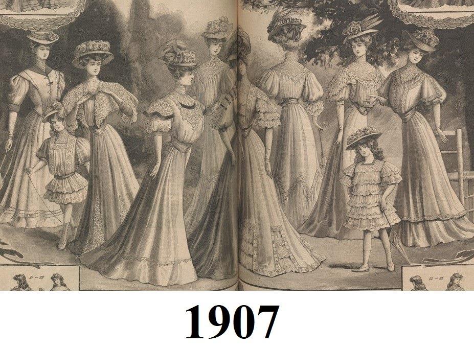 suknie spacerowe 1907 rok