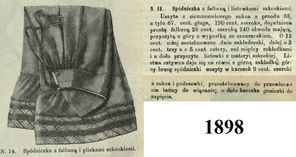 zielona wełniana halka z 1898 roku
