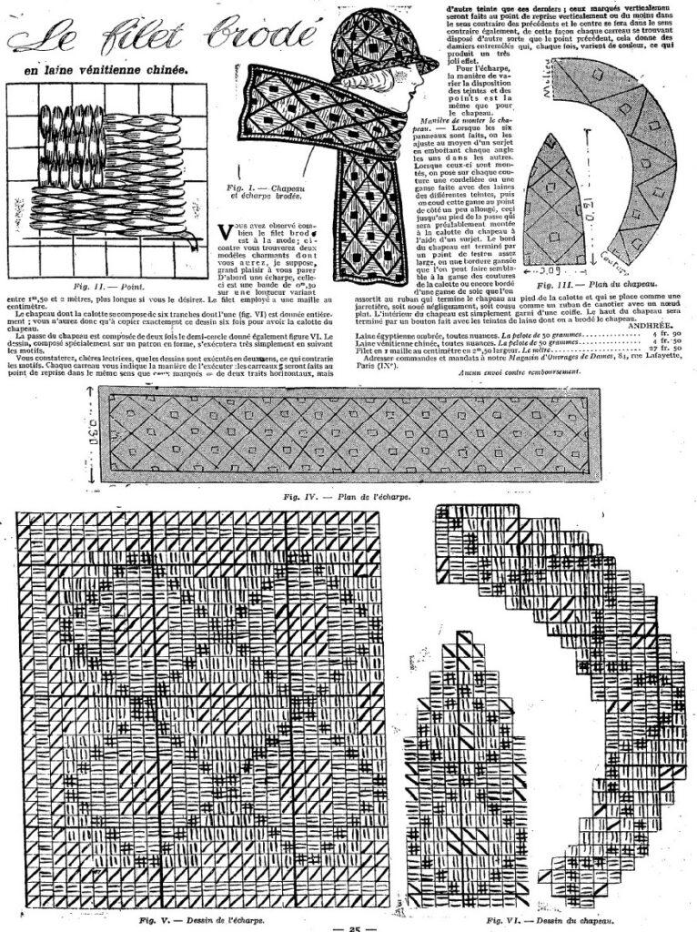1924 haftowany zestaw szal plus kask