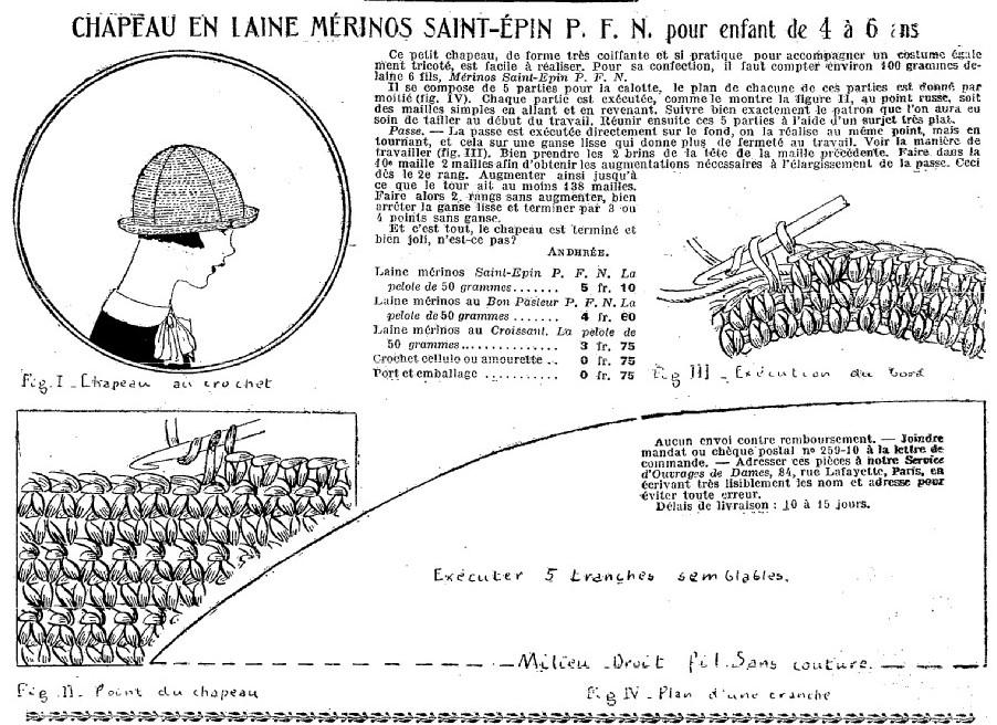 szydełkowy kask z 1925 roku