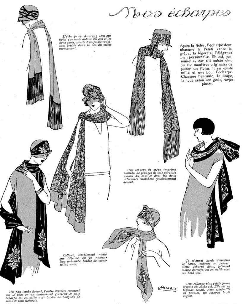 1924 przykłady kapeluszy skoordynowanych z szalami
