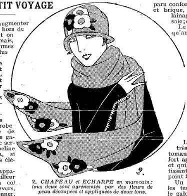 1925 kapelusz i szal z aplikacją