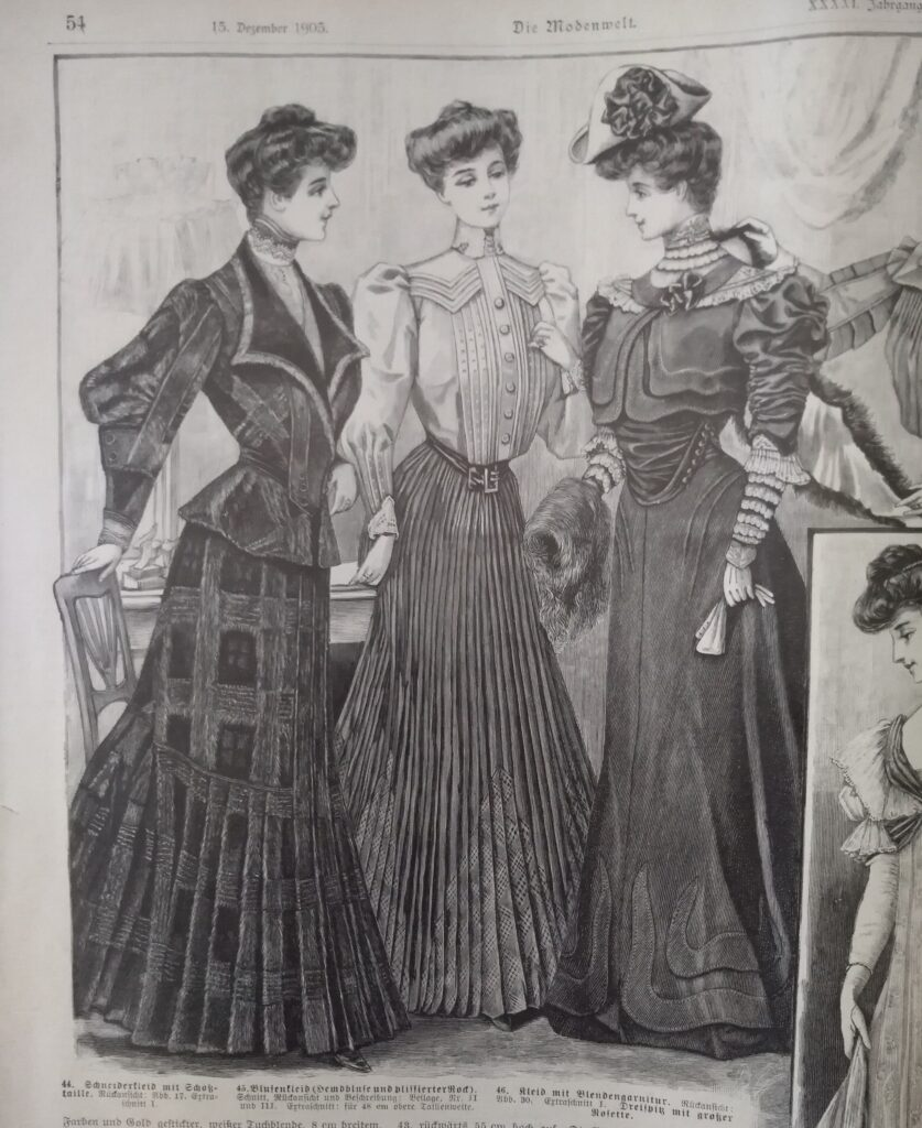 1905 - trzy modne kobiety, rysunki z pisma