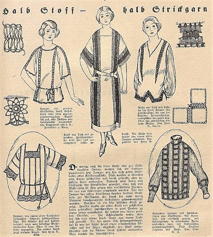 Poziome wstawki w ubraniach 1923 rok
