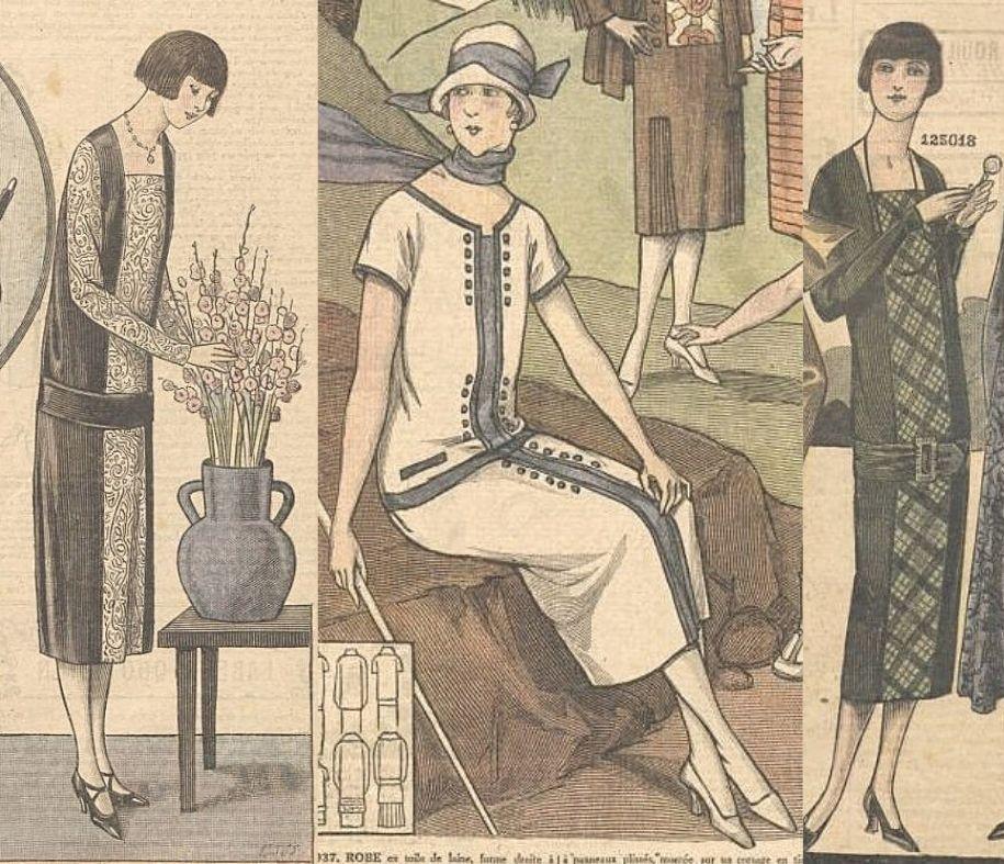 Piękne sukienki dzienne z 1925 roku.