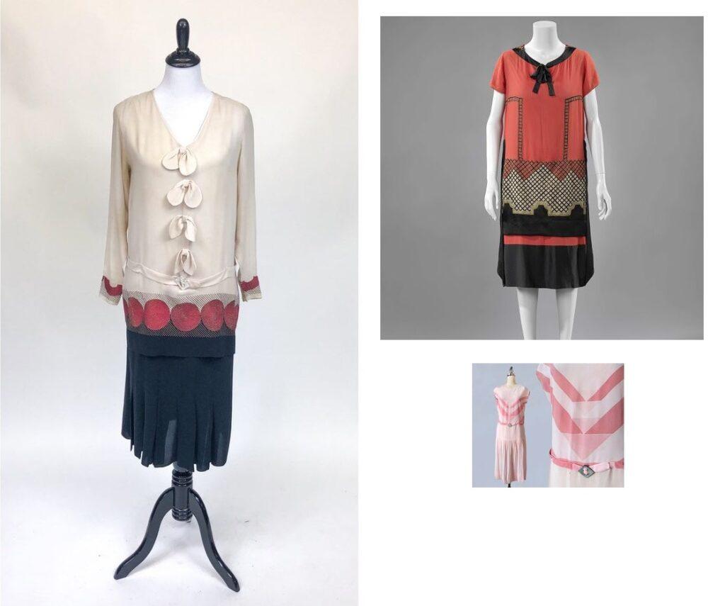 Kontrastowe łączenia tkanin w sukienkach z lat 1920.