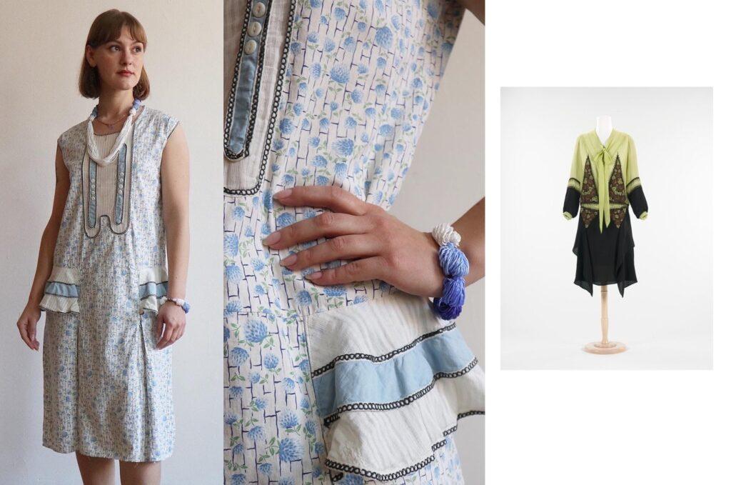 Fantazyjne łączenia tkanin w sukienkach z lat 1920.