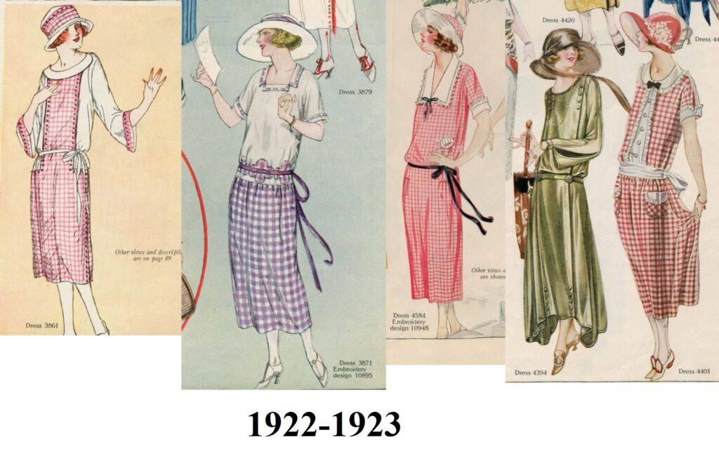 Sukienki w kratkę z lat 1922-1923.
