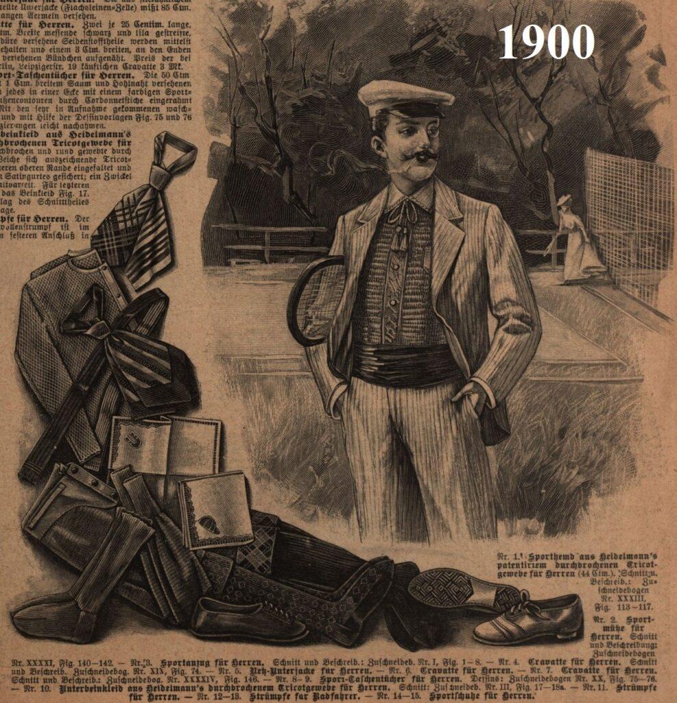 1900 męski strój do tenisa