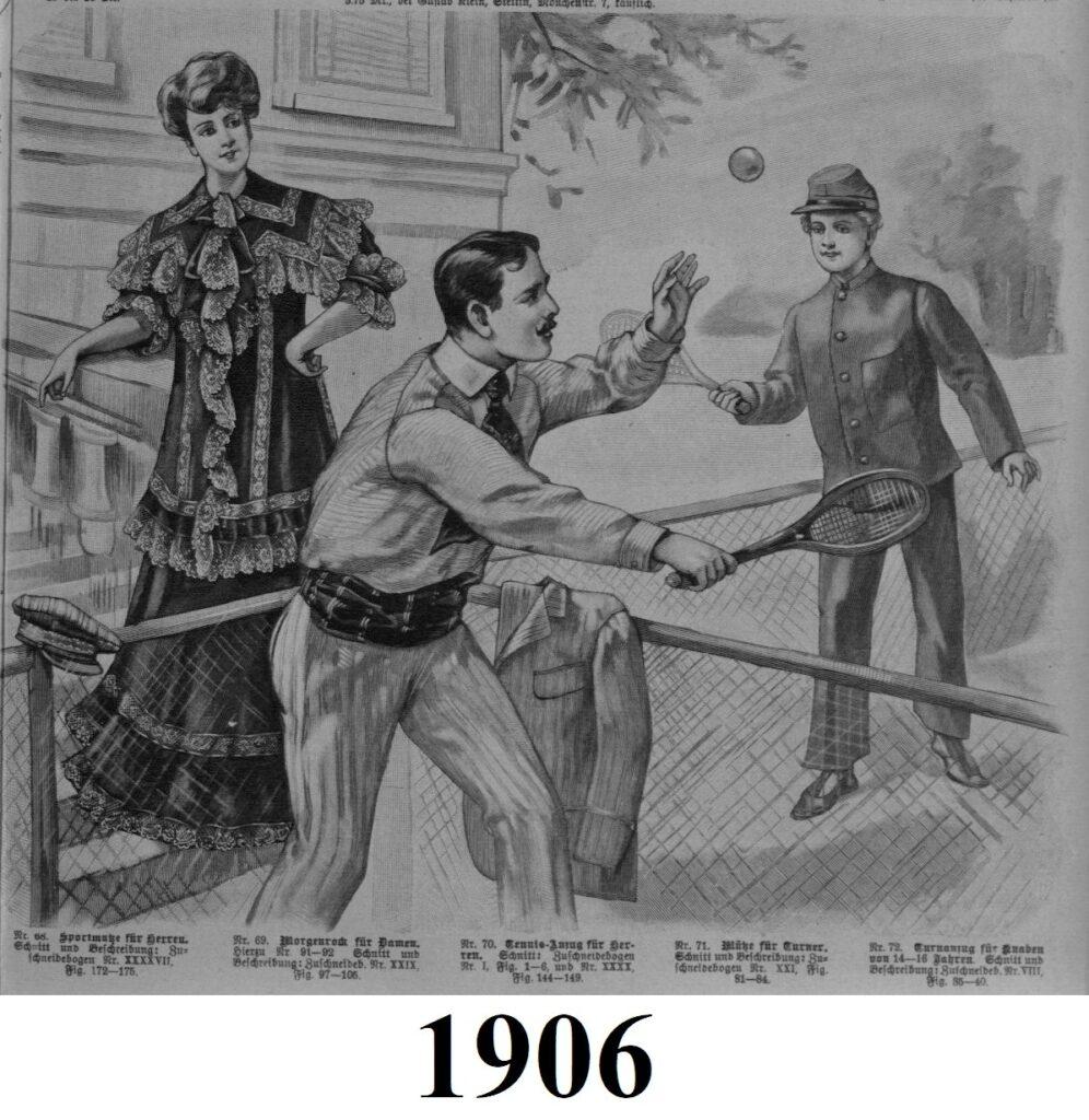 1906 męski strój tenisowy