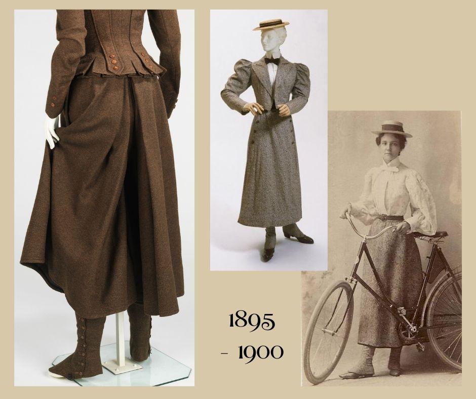 1896-1900 cyklistki w strojach sportowych