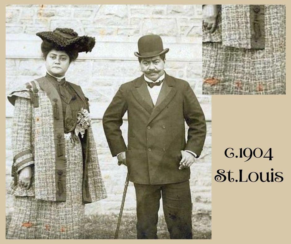 """około 1904 - tkanina """"szanelka"""" w ubiorze secesyjnym"""