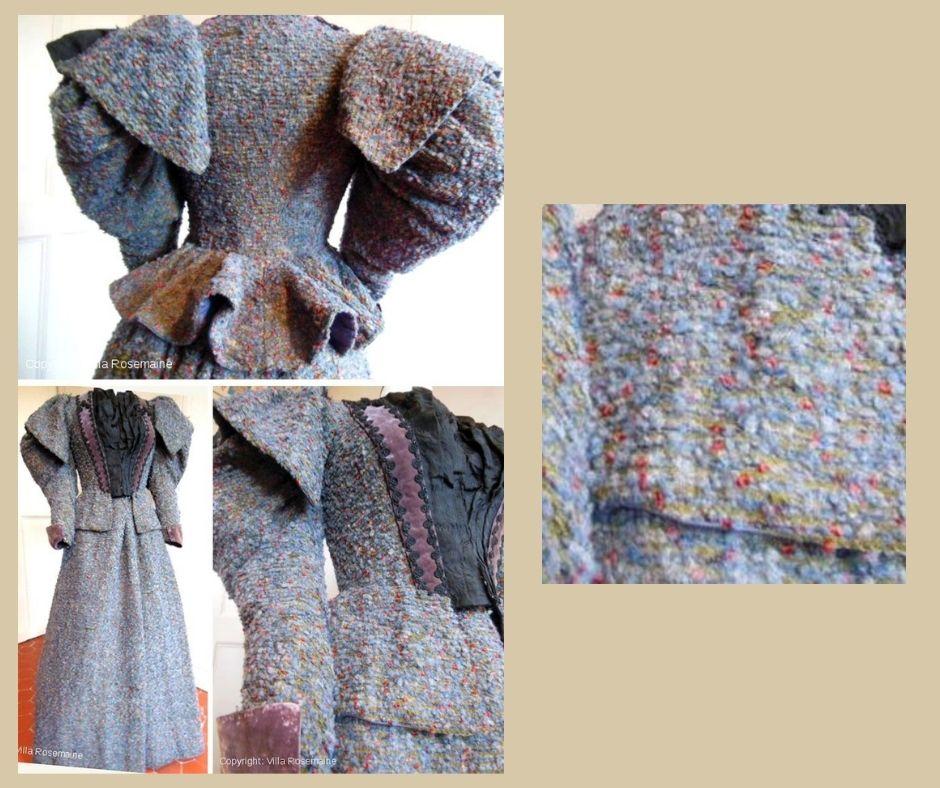 Około 1895 - kostium z filoetowawej wełny boucle.