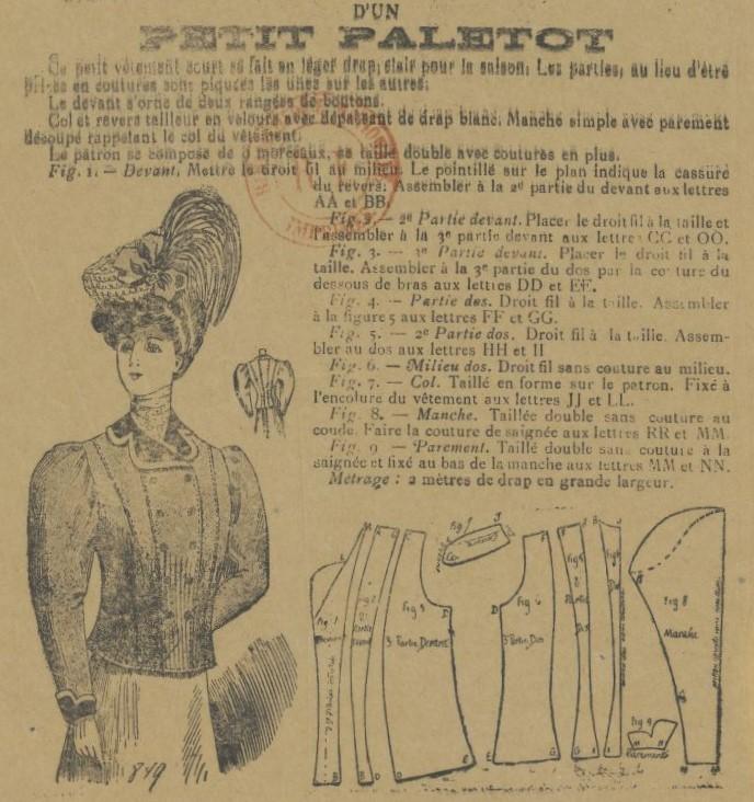 1906 żakiet z podwójnymi cięciami