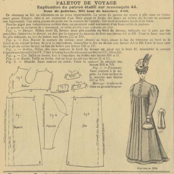 1906 schemat kroju długiego płaszcza