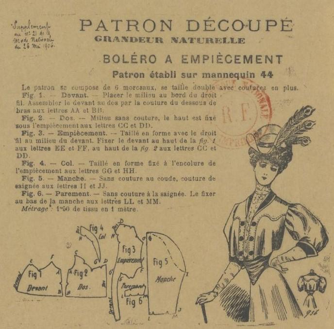 1906 schemat kroju bolerka z karczkiem