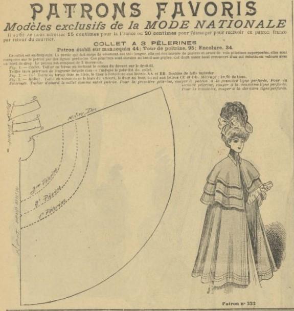 1906 wykrój peleryny