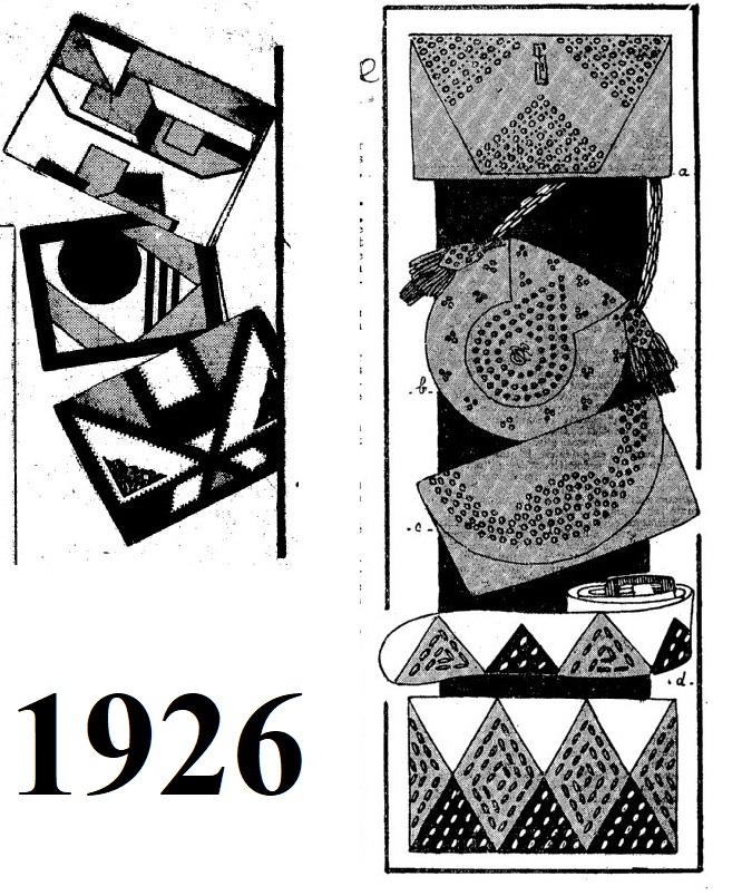 1926 geometryczne hafty na torebkach