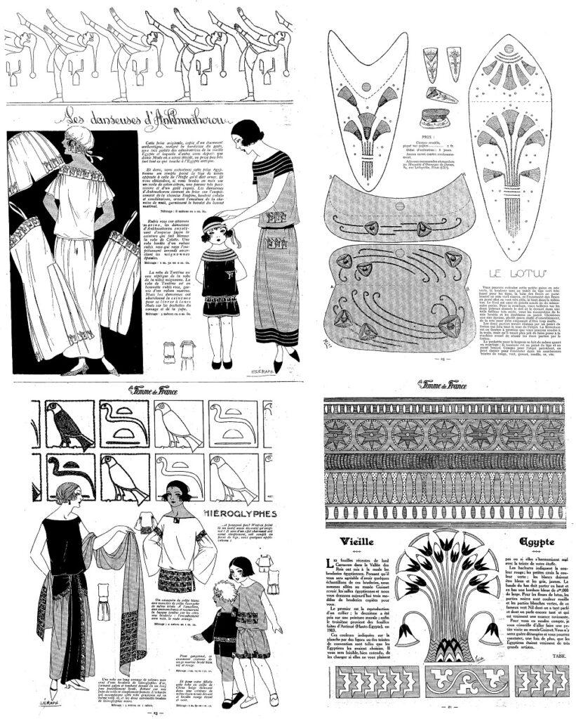 """Hafty """"egipskie"""" na ubiorach - rysunki z pism."""