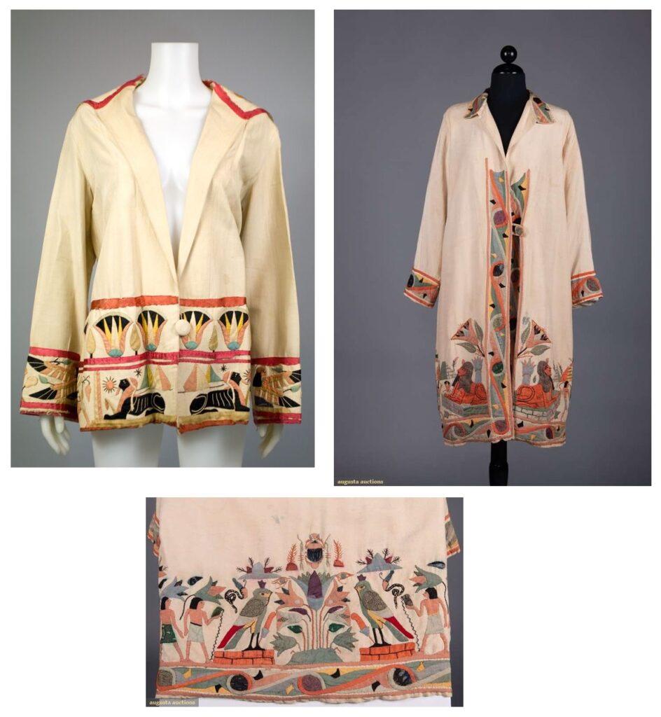 Płaszcze z egipskimi sylwetkami.