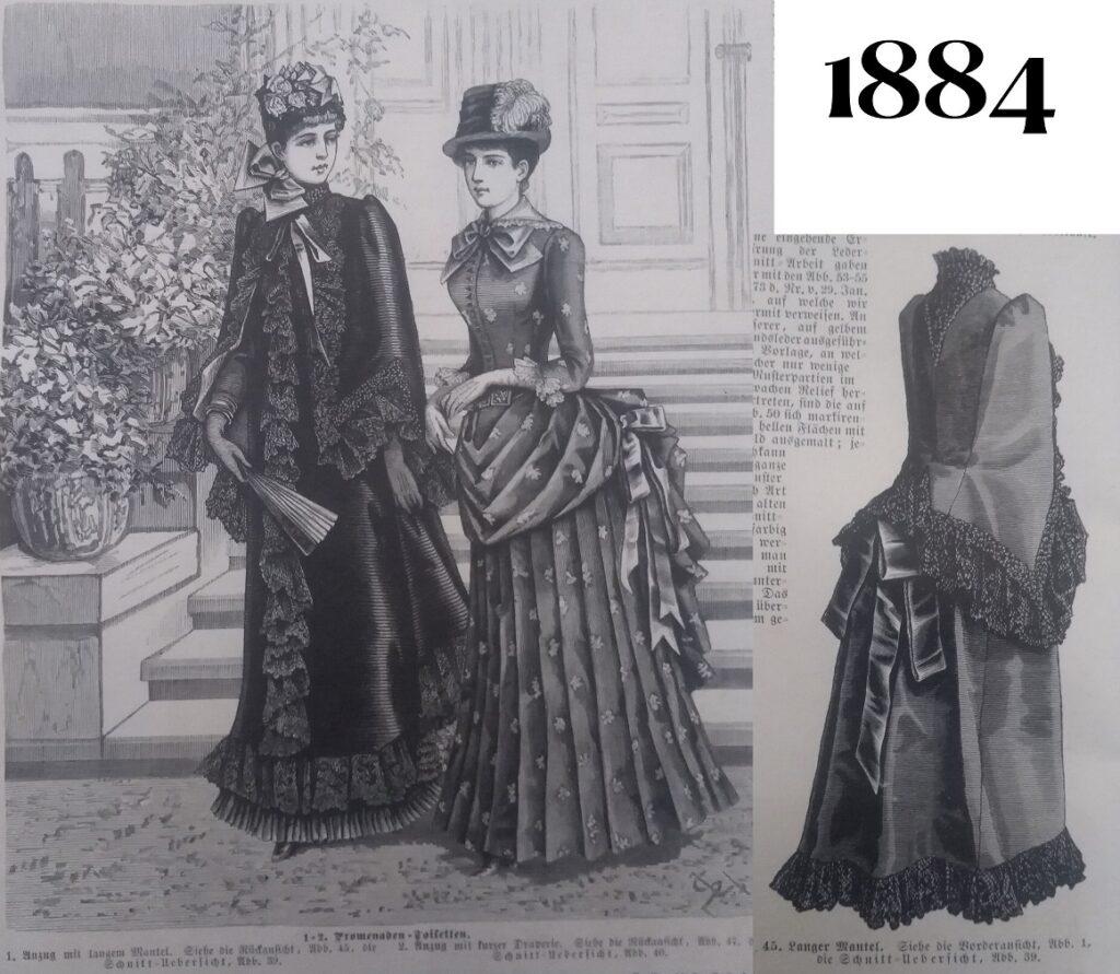Długi dolman z 1884 roku, przód i tył,