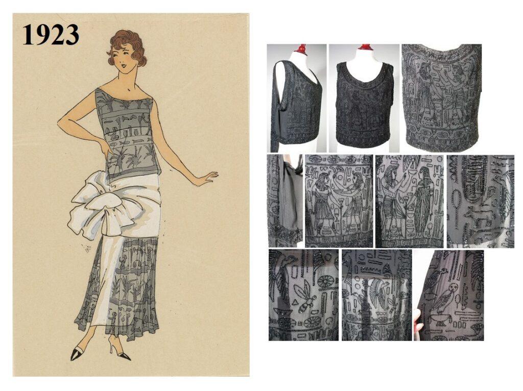 1923 - suknia wyszywana koralikami w motywy egipskie