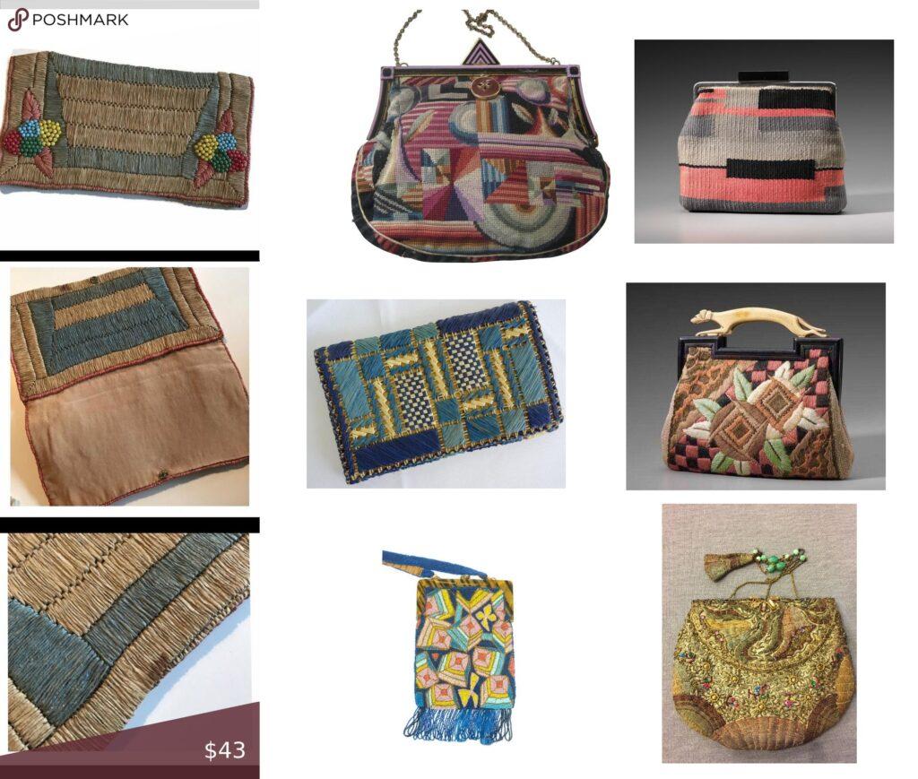 przykłady haftowanych torebek Art Deco