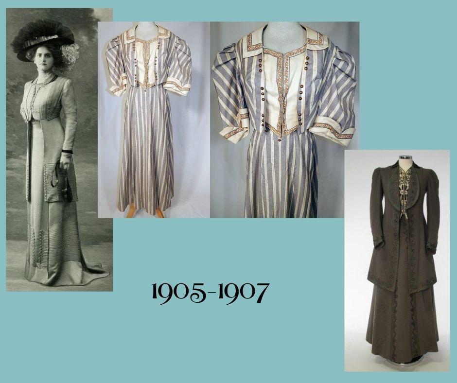 Secesyjne zestawy ubiorów, w których jest fałszywa kamizelka