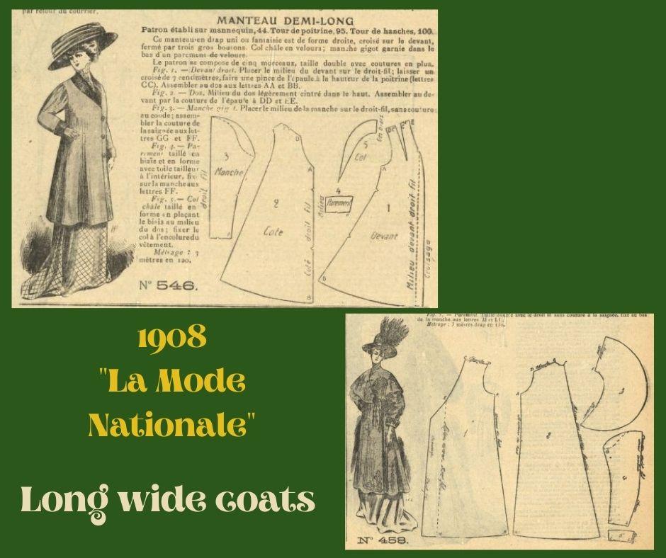 1908 płaszcze secesyjne z diagramem kroju