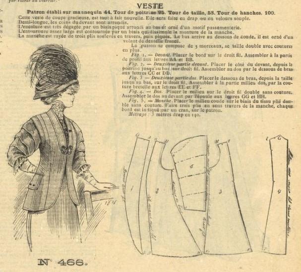 1908 żakiet z wykrojem